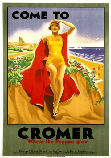 Come to Cromer, Where the Poppies Grow, Norfolk. LMS/LNER Travel Poster by Bruce Angrave.